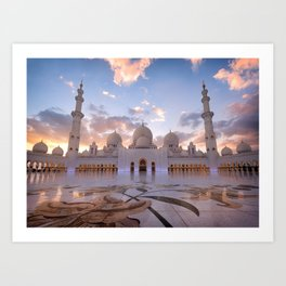 Sunset at the Sheikh Zayed Grand Mosque Art Print