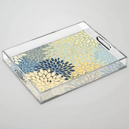 Floral Print, Yellow, Gray, Blue, Teal Acrylic Tray
