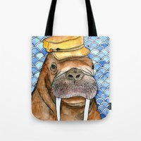 kevin russ Tote Bags featuring Russ by Amy Nickerson