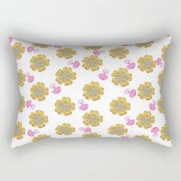 Girly pink perfume bottle faux gold glitter floral Rectangular Pillow