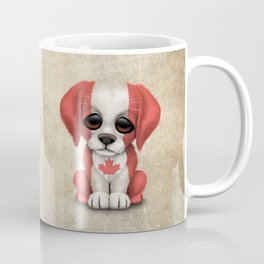 Cute Puppy Dog with flag of Canada Coffee Mug
