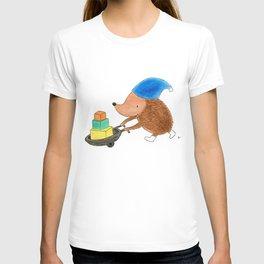 Little Hedgehog Going to His Best Friend's Birthday Party - Children's Illustration T-shirt