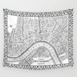 Vintage Map of New Orleans (1880) BW Wall Tapestry
