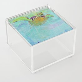 Painterly Sea Turtle Swimming in Turquoise water Acrylic Box
