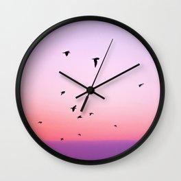 birds in the sky rose Wall Clock