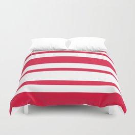 Mixed Horizontal Stripes - White and Crimson Red Duvet Cover