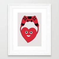 gaming Framed Art Prints featuring Gaming Heart by Boriana Giormova