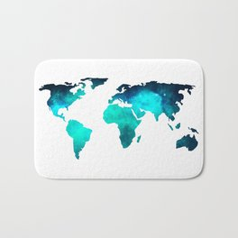 World Map Space Galaxy Stars in Turquoise Bath Mat