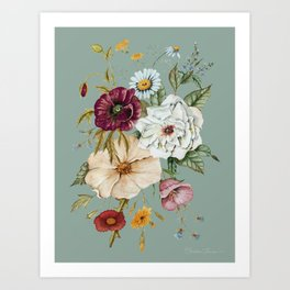 Colorful Wildflower Bouquet on Blue Art Print