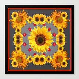 Western Blanket Style Sunflowers Grey Art Canvas Print