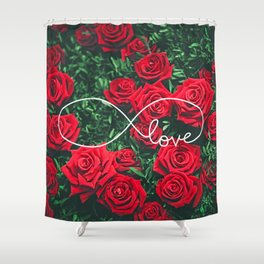 Red Roses Photography & Infinity Love Sign Shower Curtain