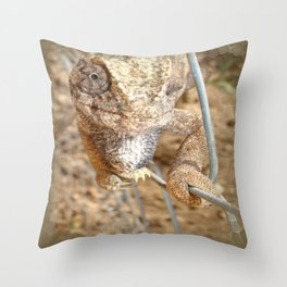Chameleon Walking on A Wire Throw Pillow