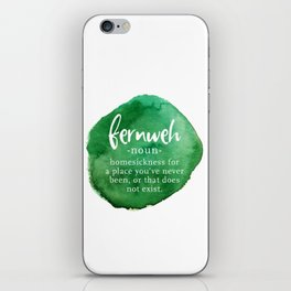 Fernweh Word Nerd - Green Watercolor iPhone Skin