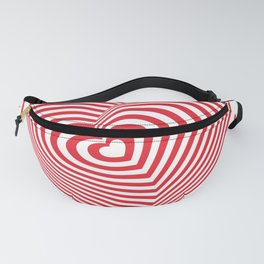 red white heart on red floral ornament background. Optical illusion of 3D Fanny Pack