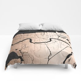 New Orleans Rose Gold and Black Map Comforters