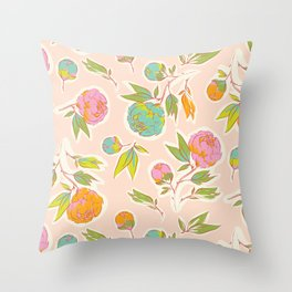 Bright colorful summer florals on blush pink Throw Pillow