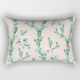 Green Coral Pink Cactus Rose Pattern Rectangular Pillow