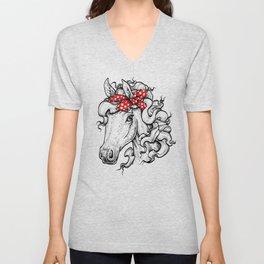 Horse in Red Bandana Unisex V-Neck