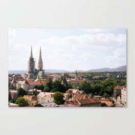 Zagreb, view on upper town Canvas Print