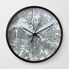 Louisville, KY, USA, White, City, Map Wall Clock