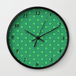 Green flowers on green Wall Clock