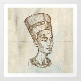 Bust of Nefertiti hand drawn Art Print