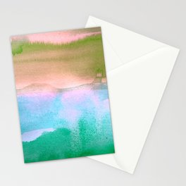 Tie-Dye Abstract Watercolor Painting, Blues, Greens, Pinks Stationery Cards