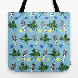 Aliens & Astronauts pattern Tote Bag