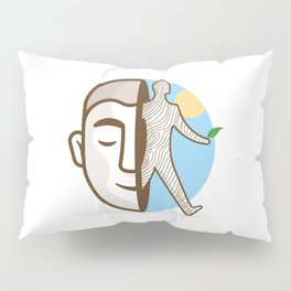 wooden man coming out of a real man's mind # 1 Pillow Sham