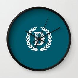Dark Teal Monogram: Letter D Wall Clock