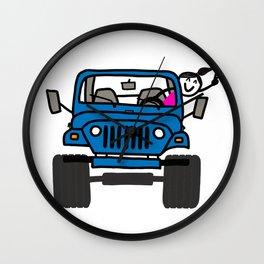 Jeep Wave Girl - Blue Wall Clock