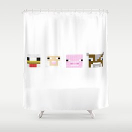 Mine Craft Block Animals Shower Curtain