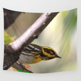 A Townsend's Warbler in a sycamore tree. Wall Tapestry