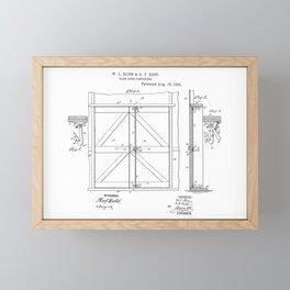 Barn Door Fastening Vintage Patent Hand Drawing Framed Mini Art Print