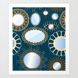 Retro Rattan Midcentury Mirrors in Dark Teal Art Print