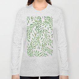 Vivid Green Tendril Botanical Watercolor Pattern Long Sleeve T-shirt