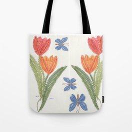 Tulipes et papillon en dentelle Tote Bag