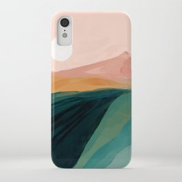 pink, green, gold moon watercolor mountains iPhone Case