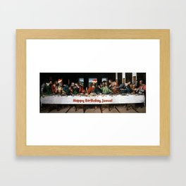 Happy Birthday, Jesus! Remake of Last Supper of Leonardo, Christmas theme Framed Art Print