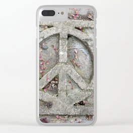 Peace sign on sidewalk in California Clear iPhone Case