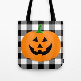 Halloween Jack O'Lantern Buffalo Check Tote Bag