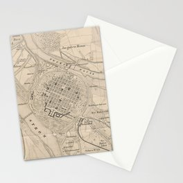 Vintage Mannheim Germany Map (1844) Stationery Cards