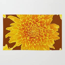 Coffee Brown Color Golden Yellow Chrysanthemums Rug