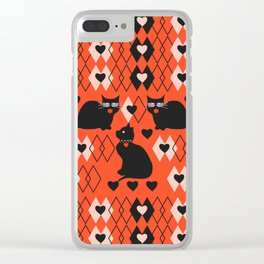 Cats and hearts with diamonds Clear iPhone Case