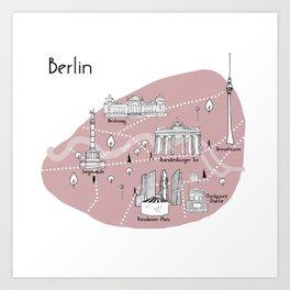 Mapping Berlin - Pink Art Print