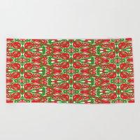 Red, Green and White Kaleidoscope 3375 Beach Towel