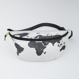 World Map in Black and White Ink on Paper Fanny Pack