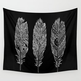 Patterned Plumes - White Wall Tapestry