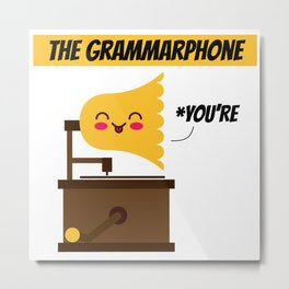 The Grammarphone - Funny Gramophone Wordplay Metal Print