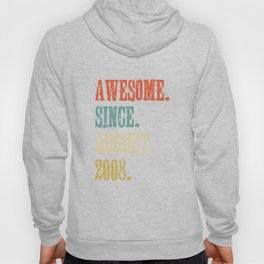 Awesome Since August 2008 10 Year Old Vintage Gift Hoody